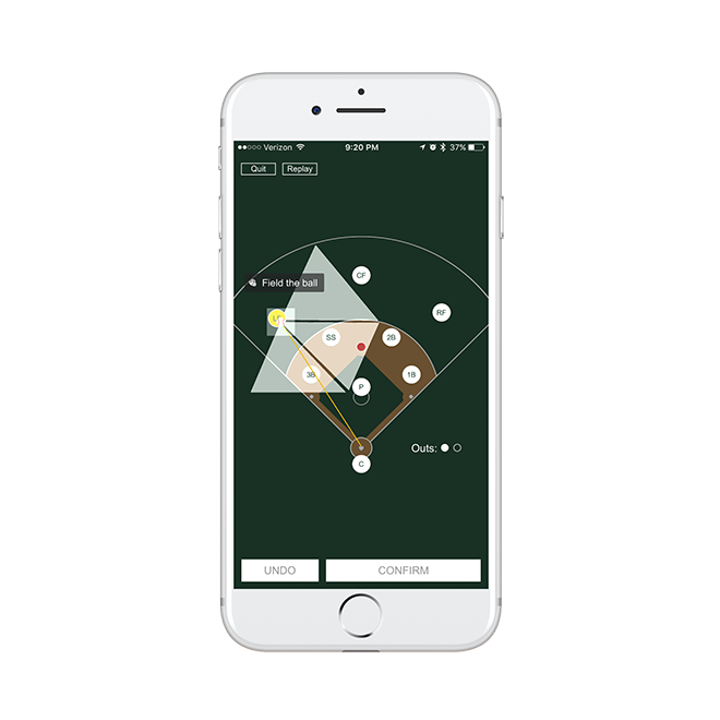 Thinking Baseball app on mobile phone showing player positions